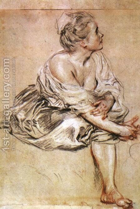 Young Woman Seated by Jean-Antoine Watteau - Reproduction Oil Painting