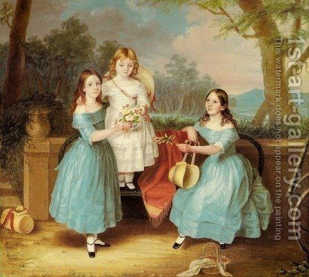 Georgina, Augusta Rose and Emily by Martha Berkeley - Reproduction Oil Painting