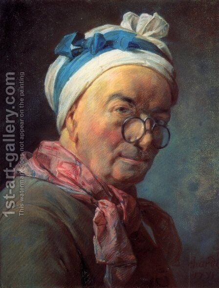 Self-Portrait with Spectacles by Jean-Baptiste-Simeon Chardin - Reproduction Oil Painting