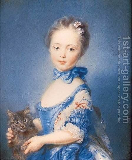 A Girl with a Kitten 1745 by Jean-Baptiste Perronneau - Reproduction Oil Painting