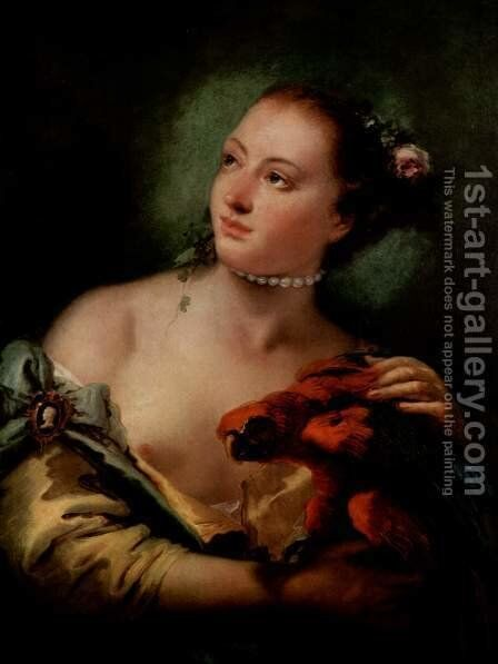 Woman with a Parrot (Donna con un pappagallo) by Giovanni Battista Tiepolo - Reproduction Oil Painting