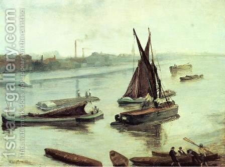 Grey and Silver: Old Battersea Reach by James Abbott McNeill Whistler - Reproduction Oil Painting