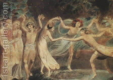 Oberon, Titania and Puck with Fairies Dancing by William Blake - Reproduction Oil Painting