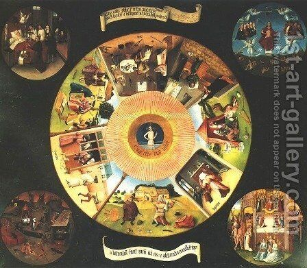 Seven Deadly Sins or The Table of Wisdom by Hieronymous Bosch - Reproduction Oil Painting