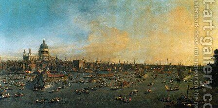 Thames and the City by (Giovanni Antonio Canal) Canaletto - Reproduction Oil Painting