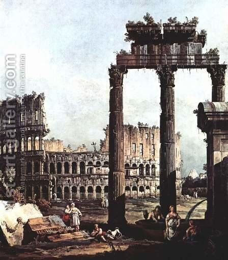 Capriccio with the Colosseum 1743-44 by Bernardo Bellotto (Canaletto) - Reproduction Oil Painting