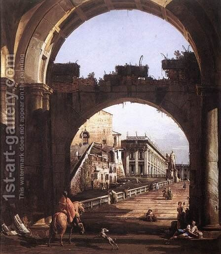 Capriccio of the Capitol by Bernardo Bellotto (Canaletto) - Reproduction Oil Painting