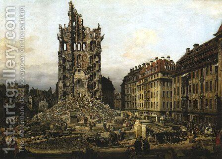 Ruins of the Old Kreuzkirche in Dresden by Bernardo Bellotto (Canaletto) - Reproduction Oil Painting