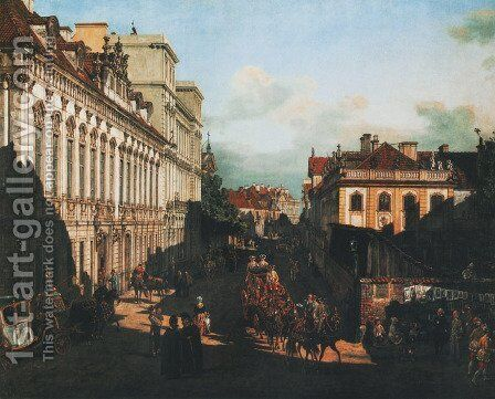 Miodowa Street in Warsaw by Bernardo Bellotto (Canaletto) - Reproduction Oil Painting