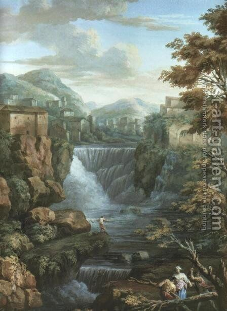 Tivoli Waterfalls by Charles-Louis Clerisseau - Reproduction Oil Painting