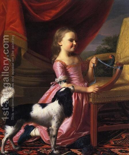 Young Lady with a Bird and Dog by John Singleton Copley - Reproduction Oil Painting