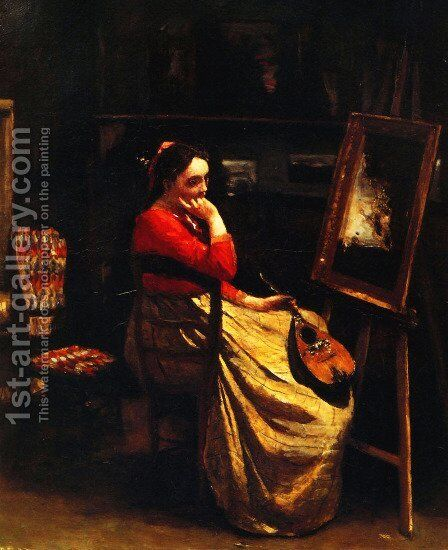 Artist's Studio, Young Woman with a Mandolin by Jean-Baptiste-Camille Corot - Reproduction Oil Painting