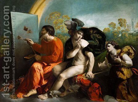 Jupiter Painting Butterflies, Mercury and Virtue by Dosso Dossi (Giovanni di Niccolo Luteri) - Reproduction Oil Painting
