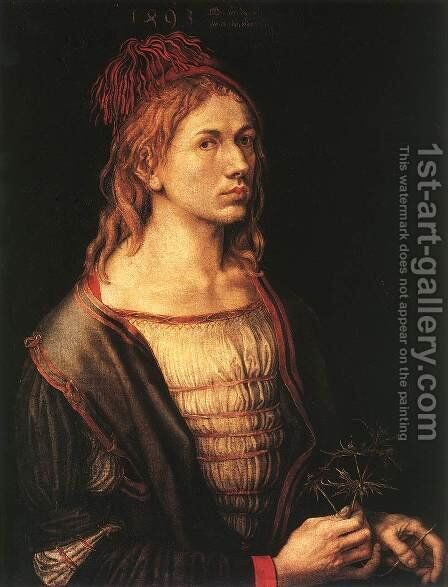 Self-Portrait with Eryngium Flower by Albrecht Durer - Reproduction Oil Painting