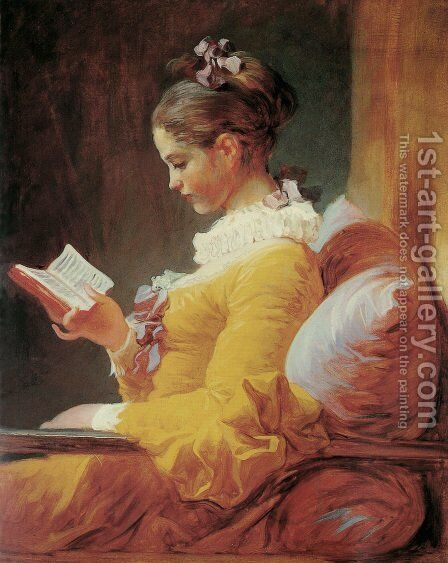 Young Girl Reading by Jean-Honore Fragonard - Reproduction Oil Painting