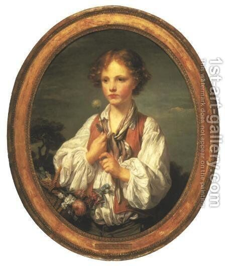 Young Shepherd Tempting Fate to See if He is Loved by His Shepherdess by Jean Baptiste Greuze - Reproduction Oil Painting
