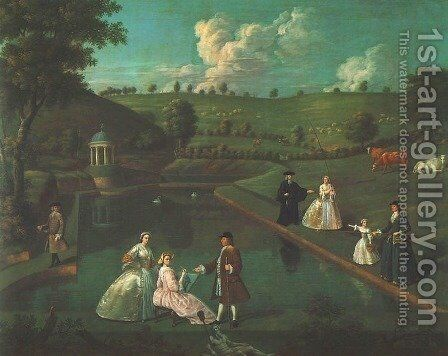 View of the Temple Pond at Beachborough Manor by Edward Haytley - Reproduction Oil Painting