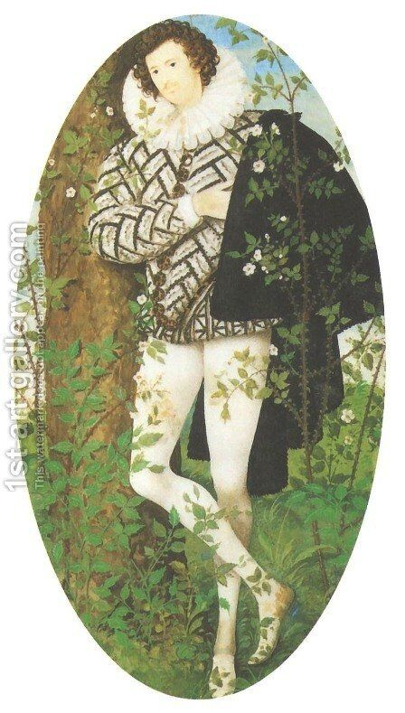 Young Man Against a Rose Tree by Nicholas Hilliard - Reproduction Oil Painting
