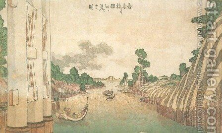 Sumida River Seen from Azuma Bridge (Azumabashi yori Sumida wo miru no zu) by Katsushika Hokusai - Reproduction Oil Painting