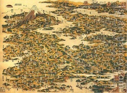 Famous Places on the Tokaido Road in One View (Tokaido meisho ichiran) by Katsushika Hokusai - Reproduction Oil Painting