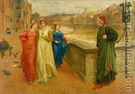 Dante and Beatrice by Henry Holiday - Reproduction Oil Painting