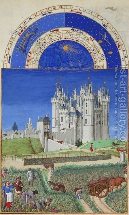 Les Tres Riches Heures du Duc de Berry - Septembre (September) by Jean Limbourg - Reproduction Oil Painting