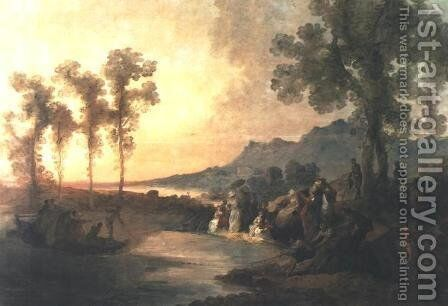 Society on Excursion to a Lake by Jan Piotr Norblin - Reproduction Oil Painting