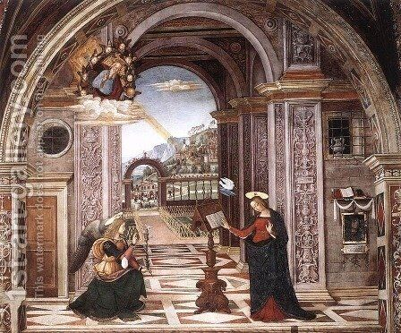 Annunciation by Bernardino di Betto (Pinturicchio) - Reproduction Oil Painting