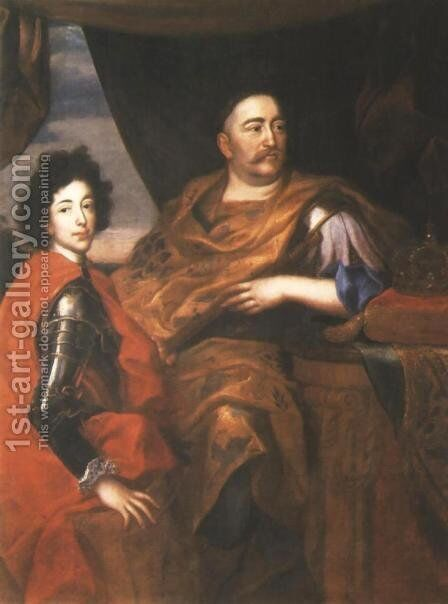 Portrait of John III Sobieski and his Son Jacob by Jan Tricius - Reproduction Oil Painting