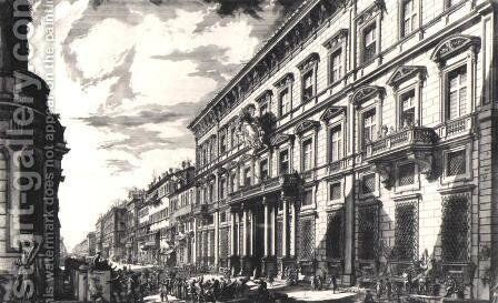View of the Palazzo Mancini on the Corso by Giovanni Battista Piranesi - Reproduction Oil Painting