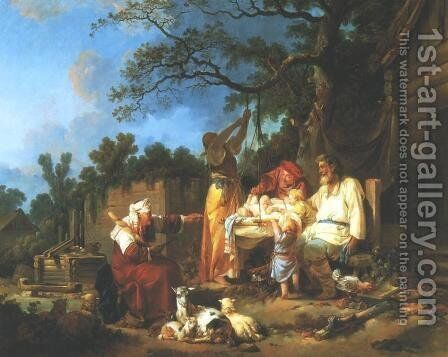 Russian Cradle by Jean-Baptiste Le Prince - Reproduction Oil Painting