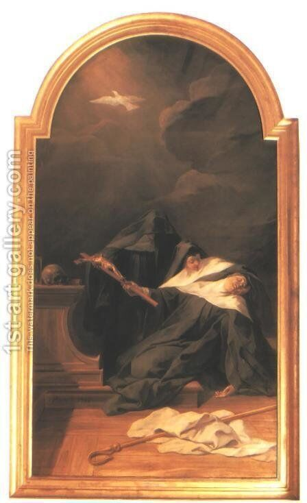 The Death of St Scholastica 1730 by Jean II Restout - Reproduction Oil Painting