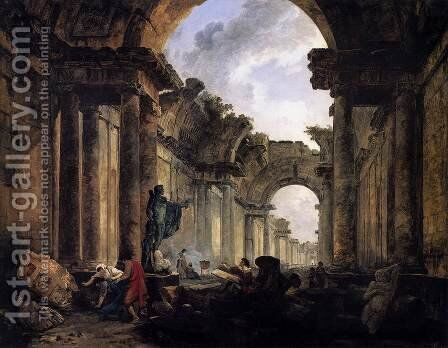 Imaginary View of the Grande Galerie in the Louvre in Ruins 1796 by Hubert Robert - Reproduction Oil Painting