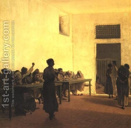 Ward of Disturbed Women in a Mental Hospital by Telemaco Signorini - Reproduction Oil Painting