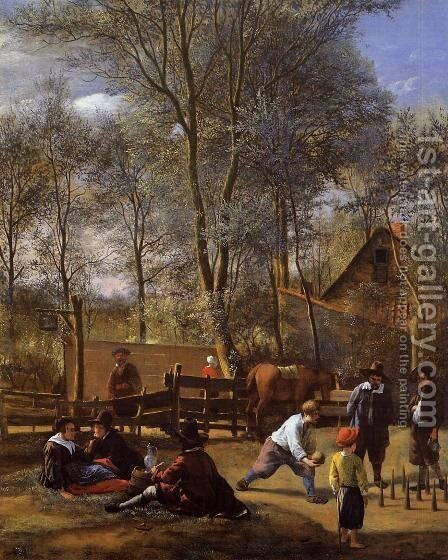 Skittle Players Outside an Inn, dated 1652 by Jan Steen - Reproduction Oil Painting