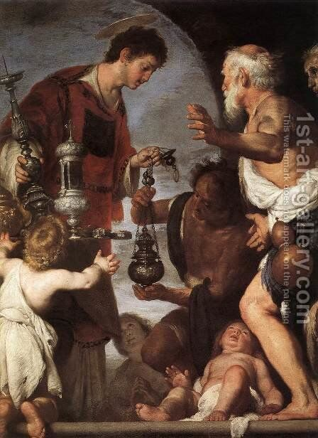 The Charity of St Lawrence 1639-40 by Bernardo Strozzi - Reproduction Oil Painting