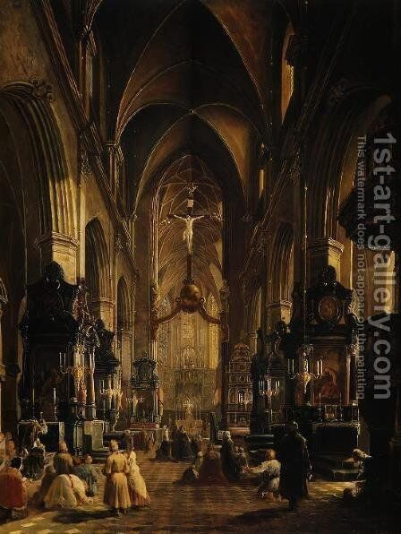 Interior of the Church of the St. Mary in Cracow by Aleksander Gryglewski - Reproduction Oil Painting