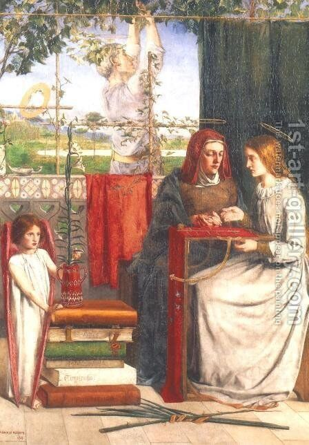 Girlhood of Mary Virgin by Dante Gabriel Rossetti - Reproduction Oil Painting