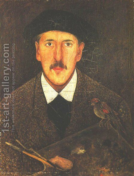 Self-Portrait with a Palette and a Bird by Tadeusz Makowski - Reproduction Oil Painting
