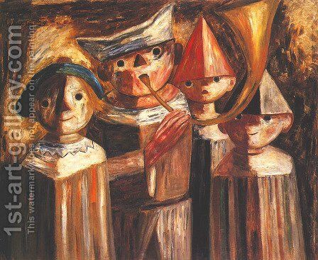 Four Children with a Trumpet by Tadeusz Makowski - Reproduction Oil Painting