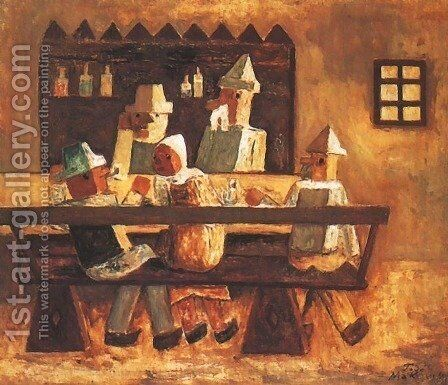 In an Inn by Tadeusz Makowski - Reproduction Oil Painting