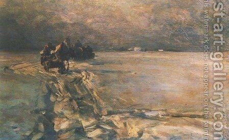 Sledging by Alfred Wierusz-Kowalski - Reproduction Oil Painting