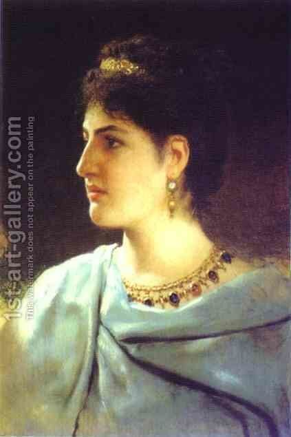Portrait of a Roman Woman by Henryk Hector Siemiradzki - Reproduction Oil Painting