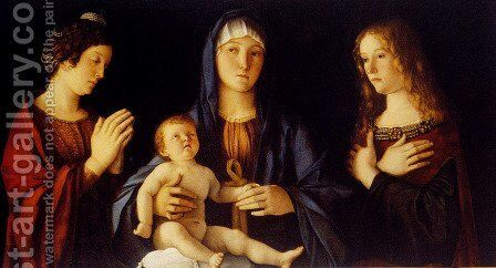 Virgin and Child between St. Catherine and St. Mary Magdalene (Madonna col Bambino tra le sante Caterina e Maddalena) by Giovanni Bellini - Reproduction Oil Painting