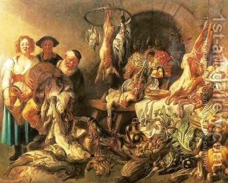 Still Life with a Fish Salesman by Jacob Jordaens - Reproduction Oil Painting