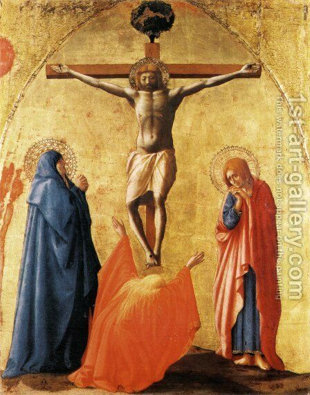 Crucifixion (Crocifissione) by Masaccio (Tommaso di Giovanni) - Reproduction Oil Painting