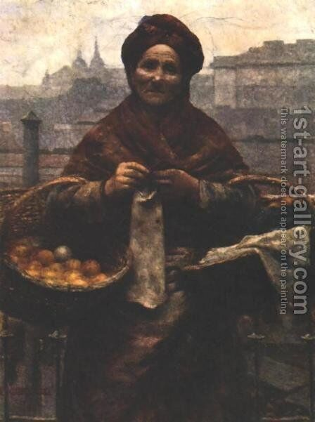 Jewess with Lemons by Aleksander Gierymski - Reproduction Oil Painting
