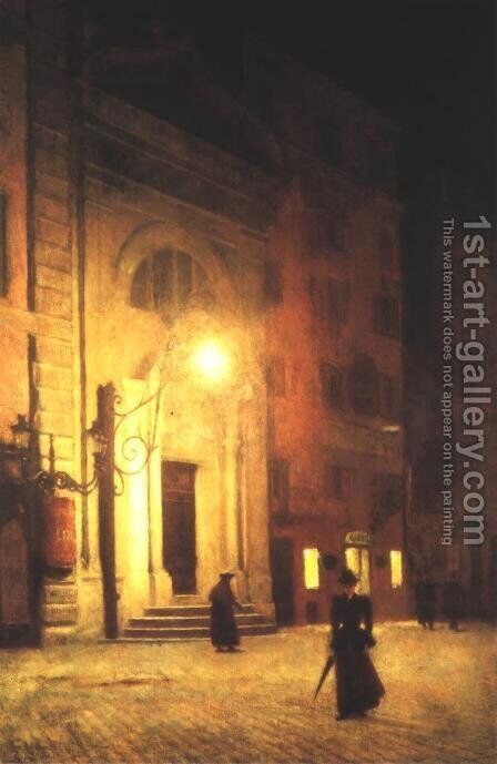 Street in Rome at Night by Aleksander Gierymski - Reproduction Oil Painting