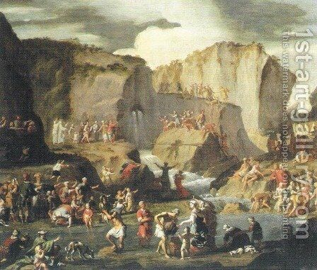 Moses Bringing Forth Water from the Rock by Christoffel Lubieniecki - Reproduction Oil Painting