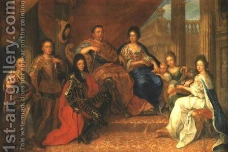 Portrait of Sobieski Family by - Unknown Painter - Reproduction Oil Painting